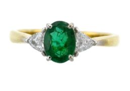 Emerald and Trillion Diamond Ring